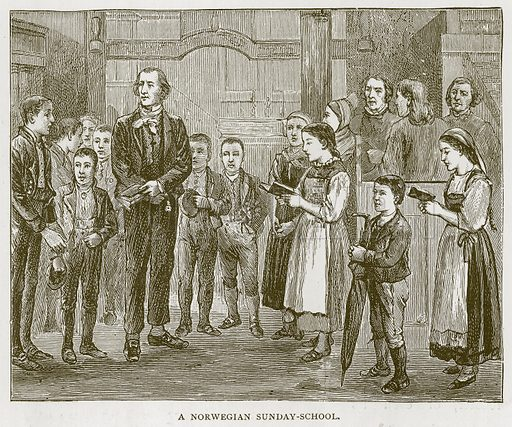 A Norwegian Sunday-School. Illustration for Children of All Nations (Cassell, c 1880).