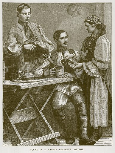 Scene in a Magyar Peasant's Cottage. Illustration for Children of All Nations (Cassell, c 1880).