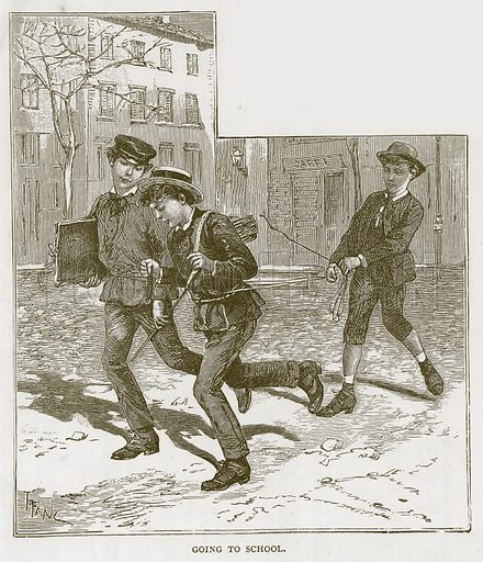 Going to School. Illustration for Children of All Nations (Cassell, c 1880).