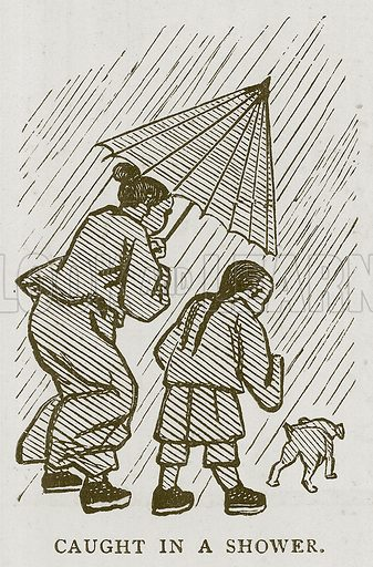 Caught in a Shower. Illustration for Children of All Nations (Cassell, c 1880).