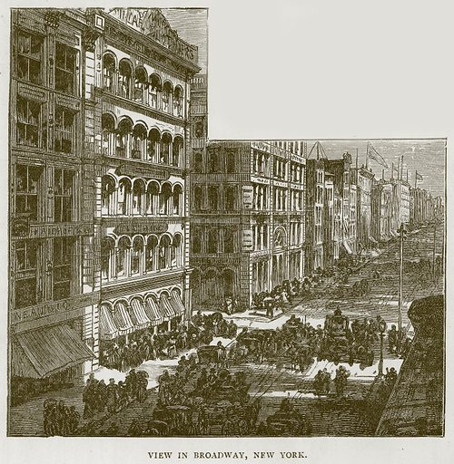 View in Broadway, New York. Illustration for Children of All Nations (Cassell, c 1890).