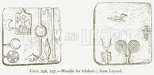 Moulds for Trinkets; from Layard. Illustration from A History of Art in Chaldaea and Assyria by Georges Perrot and Charles Chipiez (Chapman and Hall, 1884).