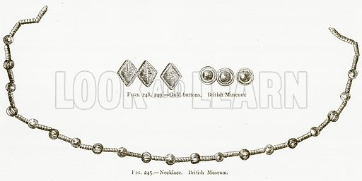Necklace. British Museum. Gold Buttons. British Museum. Illustration from A History of Art in Chaldaea and Assyria by Georges Perrot and Charles Chipiez (Chapman and Hall, 1884).