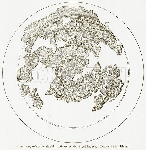 Votive Shield. Illustration from A History of Art in Chaldaea and Assyria by Georges Perrot and Charles Chipiez (Chapman and Hall, 1884).