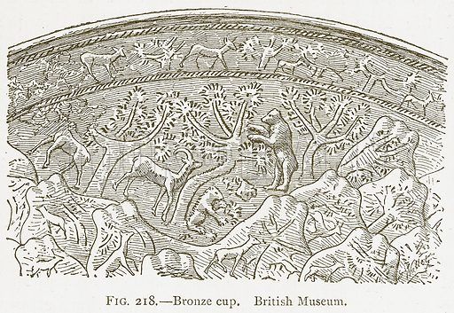 Bronze Cup. British Museum. Illustration from A History of Art in Chaldaea and Assyria by Georges Perrot and Charles Chipiez (Chapman and Hall, 1884).