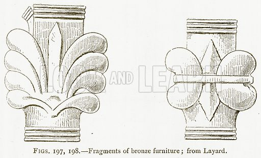 Fragments of Bronze Furniture; from Layard. Illustration from A History of Art in Chaldaea and Assyria by Georges Perrot and Charles Chipiez (Chapman and Hall, 1884).