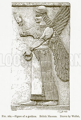 Figure of a Goddess. British Museum. Illustration from A History of Art in Chaldaea and Assyria by Georges Perrot and Charles Chipiez (Chapman and Hall, 1884).