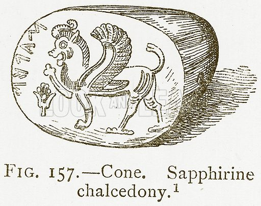 Cone. Sapphirine Chalcedony. Illustration from A History of Art in Chaldaea and Assyria by Georges Perrot and Charles Chipiez (Chapman and Hall, 1884).