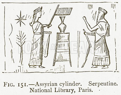 Assyrian Cylinder. Serpentine. National Library, Paris. Illustration from A History of Art in Chaldaea and Assyria by Georges Perrot and Charles Chipiez (Chapman and Hall, 1884).