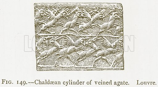 Chaldaean Cylinder of Veined Agate. Louvre. Illustration from A History of Art in Chaldaea and Assyria by Georges Perrot and Charles Chipiez (Chapman and Hall, 1884).