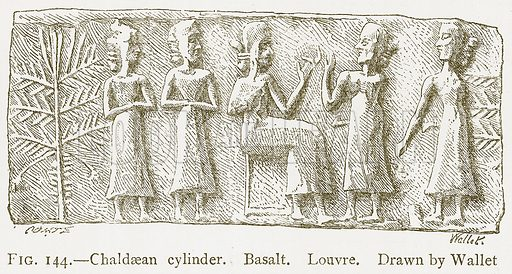 Chaldaean Cylinder. Basalt. Louvre. Illustration from A History of Art in Chaldaea and Assyria by Georges Perrot and Charles Chipiez (Chapman and Hall, 1884).