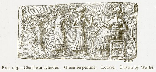 Chaldaean Cylinder. Green Serpentine. Louvre. Illustration from A History of Art in Chaldaea and Assyria by Georges Perrot and Charles Chipiez (Chapman and Hall, 1884).