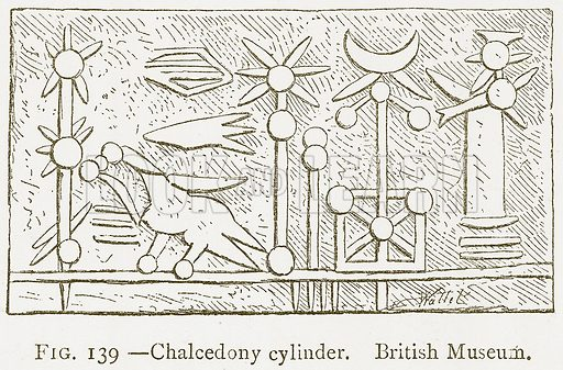 Chalcedony Cylinder. British Museum. Illustration from A History of Art in Chaldaea and Assyria by Georges Perrot and Charles Chipiez (Chapman and Hall, 1884).