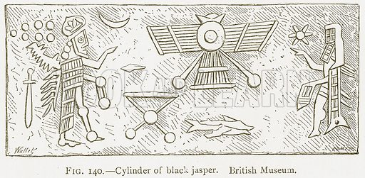 Cylinder of Black Jasper. British Museum. Illustration from A History of Art in Chaldaea and Assyria by Georges Perrot and Charles Chipiez (Chapman and Hall, 1884).