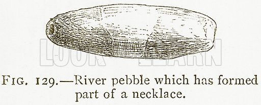 River Pebble which has Formed Part of a Necklace. Illustration from A History of Art in Chaldaea and Assyria by Georges Perrot and Charles Chipiez (Chapman and Hall, 1884).