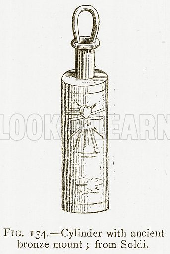 Cylinder with Ancient Bronze Mount; from Soldi. Illustration from A History of Art in Chaldaea and Assyria by Georges Perrot and Charles Chipiez (Chapman and Hall, 1884).