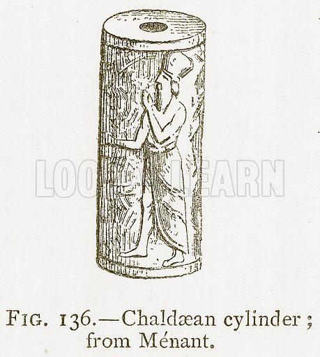 Chaldaean Cylinder; from Menant. Illustration from A History of Art in Chaldaea and Assyria by Georges Perrot and Charles Chipiez (Chapman and Hall, 1884).