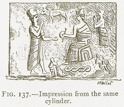 Impression from the Same Cylinder. Illustration from A History of Art in Chaldaea and Assyria by Georges Perrot and Charles Chipiez (Chapman and Hall, 1884).