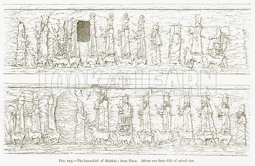 The Bas-Reliefs of Malthai; from Place. Illustration from A History of Art in Chaldaea and Assyria by Georges Perrot and Charles Chipiez (Chapman and Hall, 1884).