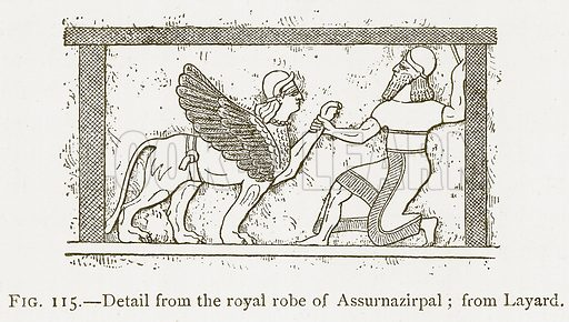 Detail from the Royal Robe of Assurnazirpal; from Layard. Illustration from A History of Art in Chaldaea and Assyria by Georges Perrot and Charles Chipiez (Chapman and Hall, 1884).