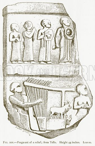 Fragment of a Relief; from Tello. Illustration from A History of Art in Chaldaea and Assyria by Georges Perrot and Charles Chipiez (Chapman and Hall, 1884).