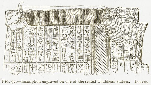 Inscription Engraved on one of the Seated Chaldaean Statues. Louvre. Illustration from A History of Art in Chaldaea and Assyria by Georges Perrot and Charles Chipiez (Chapman and Hall, 1884).