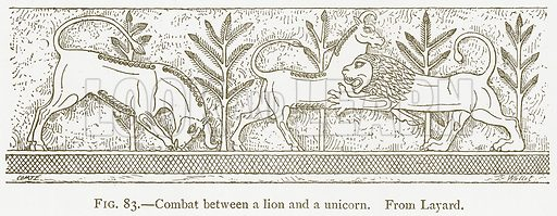 Combat between a Lion and a Unicorn. Illustration from A History of Art in Chaldaea and Assyria by Georges Perrot and Charles Chipiez (Chapman and Hall, 1884).