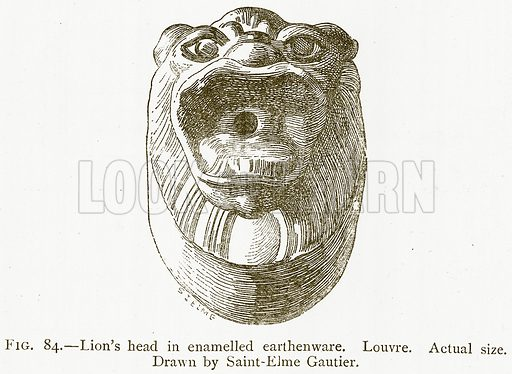Lion's Head in Enamelled Earthenware. Louvre. Illustration from A History of Art in Chaldaea and Assyria by Georges Perrot and Charles Chipiez (Chapman and Hall, 1884).