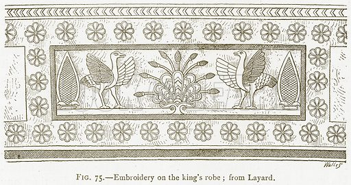 Embroidery on the King's Robe; from Layard. Illustration from A History of Art in Chaldaea and Assyria by Georges Perrot and Charles Chipiez (Chapman and Hall, 1884).