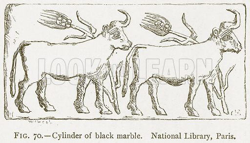 Cylinder of Black Marble. National Library, Paris. Illustration from A History of Art in Chaldaea and Assyria by Georges Perrot and Charles Chipiez (Chapman and Hall, 1884).