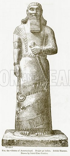 Statue of Assurnazirpal. Illustration from A History of Art in Chaldaea and Assyria by Georges Perrot and Charles Chipiez (Chapman and Hall, 1884).