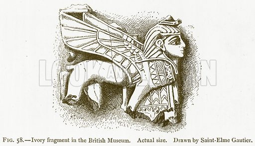 Ivory Fragment in the British Museum. Illustration from A History of Art in Chaldaea and Assyria by Georges Perrot and Charles Chipiez (Chapman and Hall, 1884).