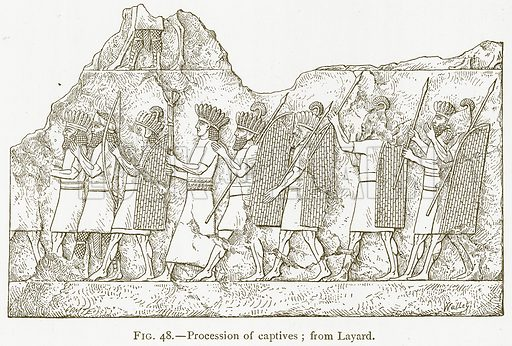 Procession of Captives; from Layard. Illustration from A History of Art in Chaldaea and Assyria by Georges Perrot and Charles Chipiez (Chapman and Hall, 1884).