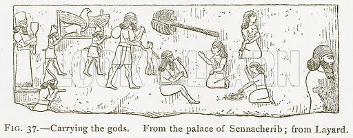 Carrying the Gods. Illustration from A History of Art in Chaldaea and Assyria by Georges Perrot and Charles Chipiez (Chapman and Hall, 1884).