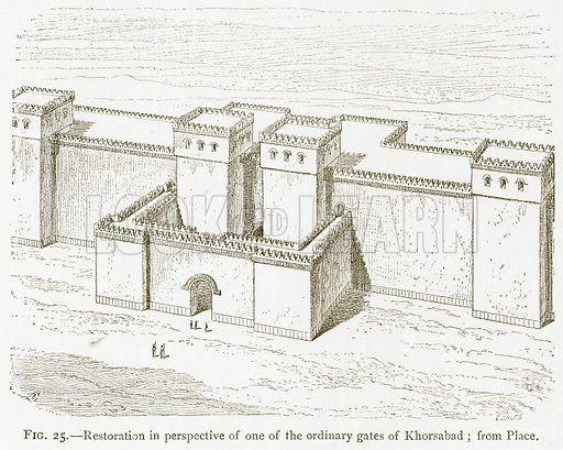 Restoration in Perspective of one of the Ordinary Gates of Khorsabad; from Place. Illustration from A History of Art in Chaldaea and Assyria by Georges Perrot and Charles Chipiez (Chapman and Hall, 1884).