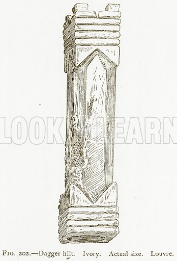 Dagger Hilt. Ivory. Illustration from A History of Art in Chaldaea and Assyria by Georges Perrot and Charles Chipiez (Chapman and Hall, 1884).