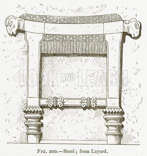 Stool; from Layard. Illustration from A History of Art in Chaldaea and Assyria by Georges Perrot and Charles Chipiez (Chapman and Hall, 1884).