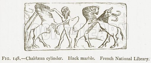 Chaldaean Cylinder. Black Marble. French National Library. Illustration from A History of Art in Chaldaea and Assyria by Georges Perrot and Charles Chipiez (Chapman and Hall, 1884).