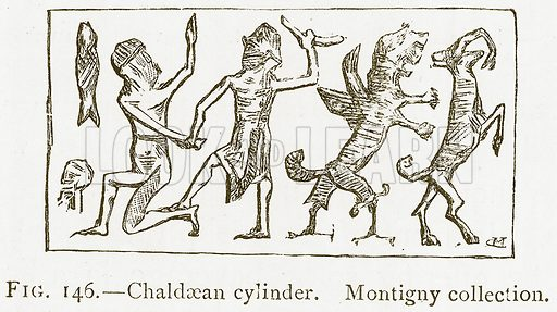 Chaldaean Cylinder. Montigny Collection. Illustration from A History of Art in Chaldaea and Assyria by Georges Perrot and Charles Chipiez (Chapman and Hall, 1884).