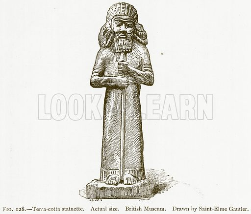 Terra-Cotta Statuette. Illustration from A History of Art in Chaldaea and Assyria by Georges Perrot and Charles Chipiez (Chapman and Hall, 1884).