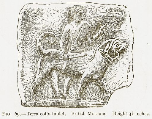 Terra-Cotta Tablet. British Museum. Illustration from A History of Art in Chaldaea and Assyria by Georges Perrot and Charles Chipiez (Chapman and Hall, 1884).