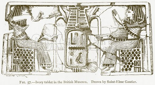 Ivory Tablet in the British Museum. Illustration from A History of Art in Chaldaea and Assyria by Georges Perrot and Charles Chipiez (Chapman and Hall, 1884).