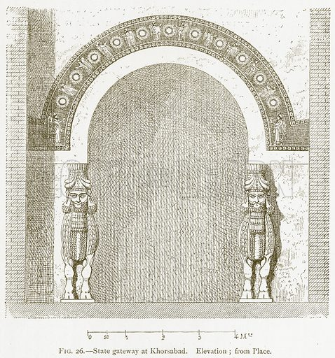 State Gateway at Khorsabad. Elevation; from Place. Illustration from A History of Art in Chaldaea and Assyria by Georges Perrot and Charles Chipiez (Chapman and Hall, 1884).
