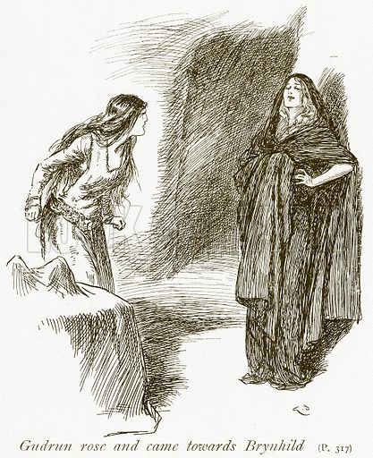 Gudrun rose and came towards Brynhild. Illustration for The Book of the Sagas by Alice S Hoffman (Ernest Nister, c 1910).