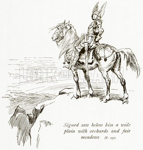 Sigurd saw below him a Wide Plain with Orchards and Fair Meadows. Illustration for The Book of the Sagas by Alice S Hoffman (Ernest Nister, c 1910).