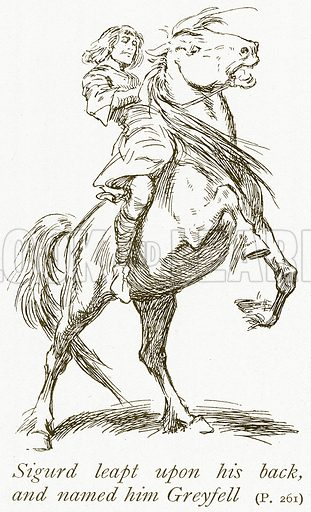 Sigurd leapt upon his back, and named him Greyfell. Illustration for The Book of the Sagas by Alice S Hoffman (Ernest Nister, c 1910).