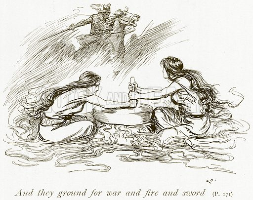 And they Ground for War and Fire and Sword. Illustration for The Book of the Sagas by Alice S Hoffman (Ernest Nister, c 1910).