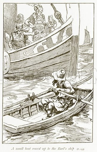 A Small Boat Rowed up to the Earl's Ship. Illustration for The Book of the Sagas by Alice S Hoffman (Ernest Nister, c 1910).
