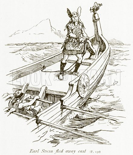 Earl Svein Fled away East. Illustration for The Book of the Sagas by Alice S Hoffman (Ernest Nister, c 1910).