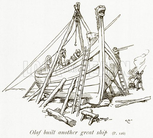 Olaf Built Another Great Ship. Illustration for The Book of the Sagas by Alice S Hoffman (Ernest Nister, c 1910).